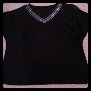 Black silver detailed neckline shirt